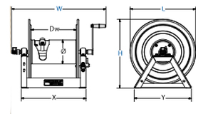 Dimensions for 1125 Series motorized Reels from Coxreels