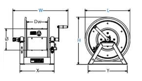 Dimensions for 1125PCL Series motorized Reels from Coxreels