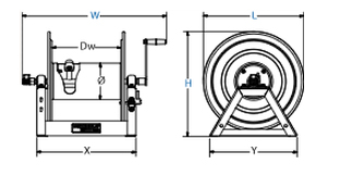 Dimensions for 1175 Series Hand Crank Reels from Coxreels