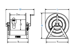 Dimensions for 1185-buxx Series motorized Reels from Coxreels