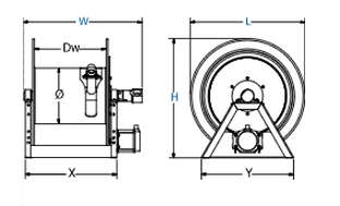 Dimensions for 1195 Series motorized Reels from Coxreels