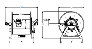 Dimensions for 1275 Series Hand Crank Reels from Coxreels