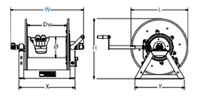 Dimensions for 1275W Series Hand Crank Reels from Coxreels