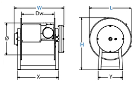 Dimensions for 300 Series Spring Driven Reels from Coxreels