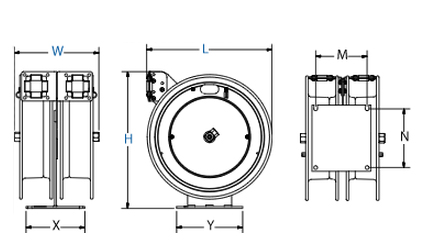 Dimensions for C Series Spring Driven Reels from Coxreels