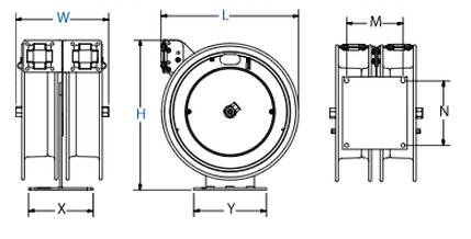 Dimensions for C Air-Electric Series Spring Driven Reels Reels from Coxreels