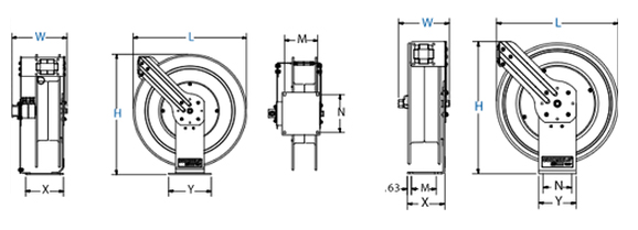 Dimensions for MPD Series Spring Driven Reels Reels from Coxreels
