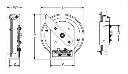 Dimensions for EZ-SD Series EZ Coil Reels from Coxreels