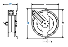 Dimensions for EZ-SGW Series Spring Driven Reels from Coxreels