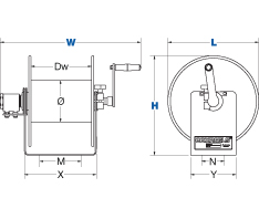 Dimensions for 100W Series Spring Driven Reels from Coxreels