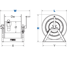 Dimensions for 1195 Series Hand Crank Reels from Coxreels