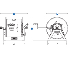 Dimensions for 1275HP Series Hand Crank Reels from Coxreels