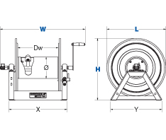 Dimensions for HP1125 Series Hand Crank Reels from Coxreels