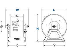 Dimensions for V1175 Series Hand Crank Reels from Coxreels