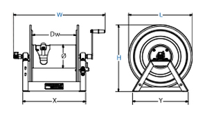 Dimensions for HP1125 Series motorized Reels from Coxreels