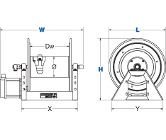 Dimensions for 1125-SS Series motorized Reels from Coxreels