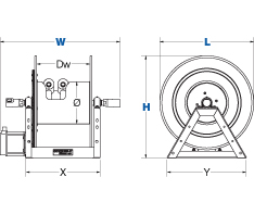 Dimensions for 1275HP Series motorized Reels from Coxreels