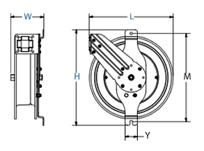 Dimensions for SG Series Spring Driven Reels from Coxreels