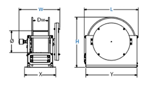 Dimensions for SP Series Spring Driven Reels from Coxreels