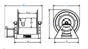 Dimensions for Storage Series motorized Reels from Coxreels